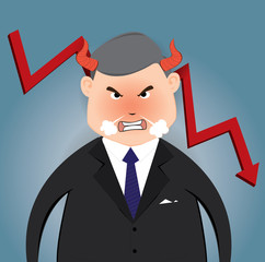 Angry boss of falling down chart, Vector illustration