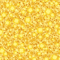 Seamless background with small yellow flowers. Vector.