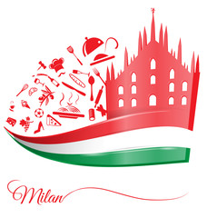 milan cathedral with food element on italian flag