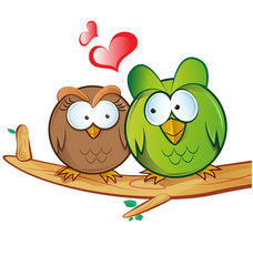 .owl cartoon in love