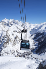 cable cars in a mountain area