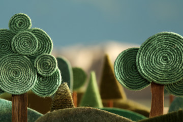 Countryside - stylized nature background made of wool