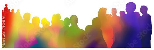 zuschauer silhouette regenbogen - 78006376