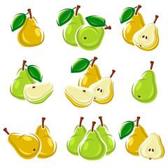 Pears set. Vector