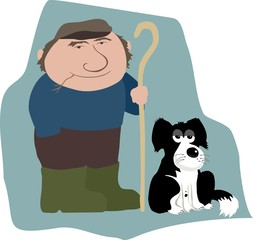 cartoon farmer and dog