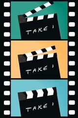 clapperboard film strip