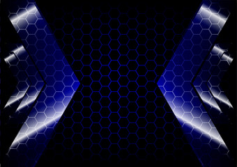 Arrow backdrop with hexagon grid blue color  background