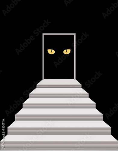 stairs leading to the door with cat's eyes in darkness - 78007110