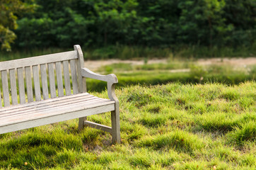 Wooden bench in the park with vintage style.