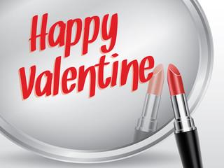 Happy valentine written by red lipstick on mirror, vector