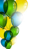 Fototapety Color balloons on white background for birthday wishes