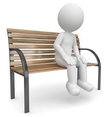 3d Männchen wartend auf einer Bank