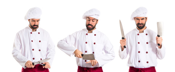 Crazy chef cutting his finger