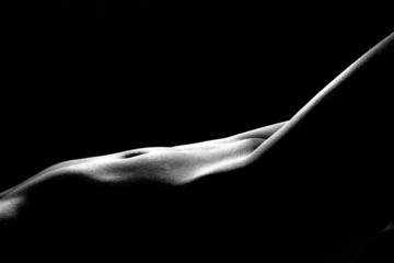 Black and white photo of the sexy woman's body