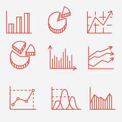 Business charts, thin line style, flat design