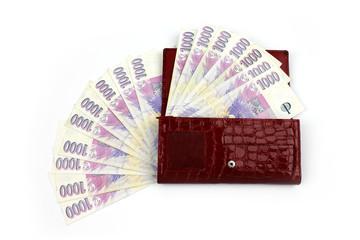 Czech money in red wallet - thousand