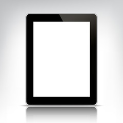 vector black tablet pc with empty screen