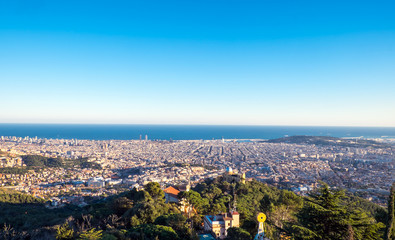 View of Barcelona with the Mediterranean Sea in the back