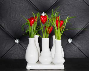 white vases with valentines