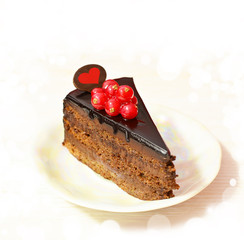 chocolate cake with currants, heart .