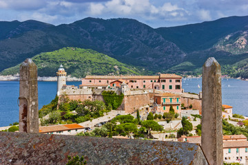 Panorama of the Forte Stella and the Lighthouse in town Portofer