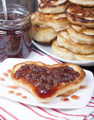 Fritters with strawberry jam.