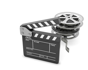 Clapboards  and film reel isolated