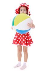 little girl hugged her great striped beach ball.