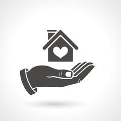 Hand Holding House Symbol