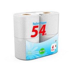 White Toilet Paper Package isolated on white background