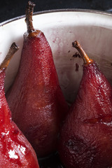 Pears boiled in red wine