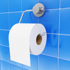 Close-up view of White Toilet Paper on Holder in Bathroom