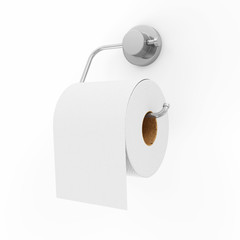 White Toilet Paper on Holder isolated on white background