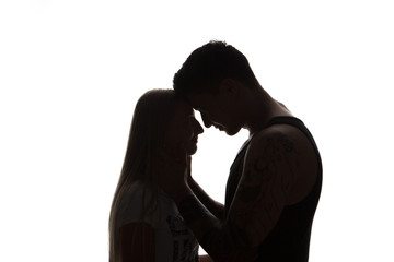Passionate sensual attractive young couple in love,
