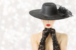 Woman In Hat and Gloves, Fashion Model Beauty Portrait