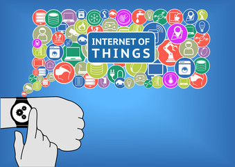 Internet of things illustration with smart watch and hands