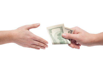 the man takes a bribe isolated on white background