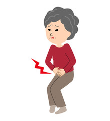 An elderly woman suffering from a stomachache