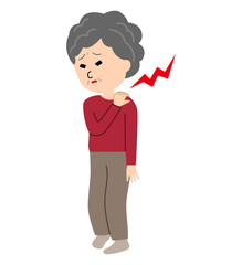 An elderly woman suffering from stiff shoulders