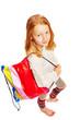 canvas print picture - Maedchen mit Einkaufstasche Draufsicht