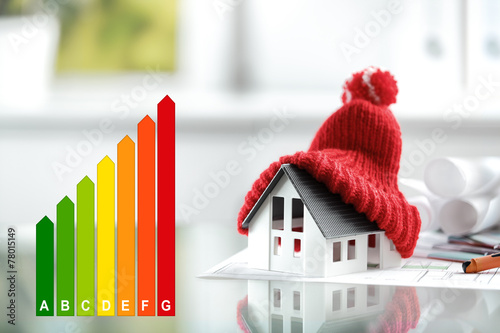 Leinwandbild Motiv Energy efficiency concept with energy rating chart