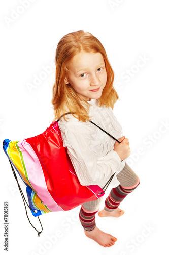 canvas print picture Maedchen mit Einkaufstasche Draufsicht