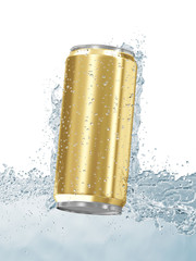 Can of Beer in Water isolated on white background