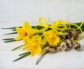 Narcissus flower and quail egg