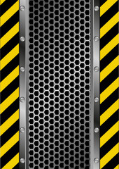 danger sign and grate background