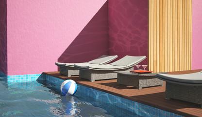 Transats au bord d'une piscine