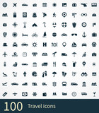 100 travel icons set poster