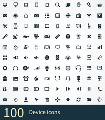 100 device icons set