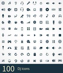 100 dj icons set