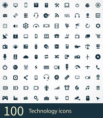 100 technology icons set